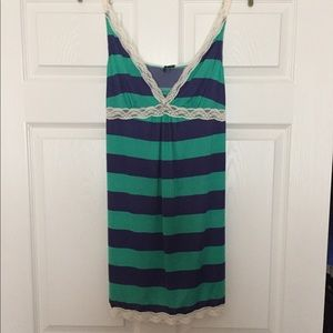 NWOT Splendid XL Green and Navy Stripe with Lace